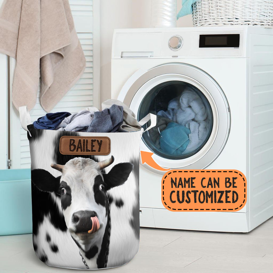 Personalized Cute Cow Face Laundry Basket