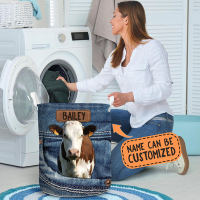 Personalized Dairy Cow Jeans Laundry Basket