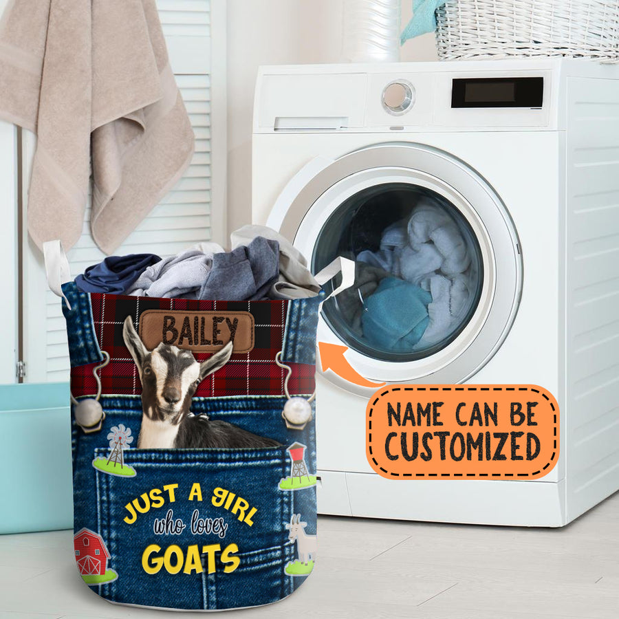 Personalized Just A Girl Who Loves Goats Laundry Basket