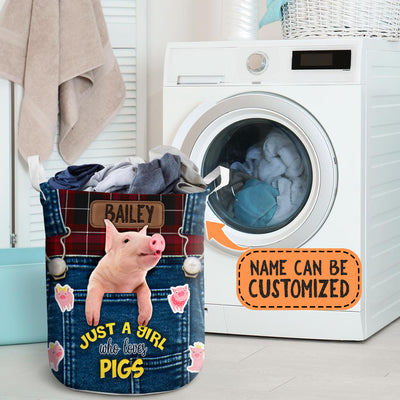 Personalized Just A Girl Who Loves Pigs Laundry Basket