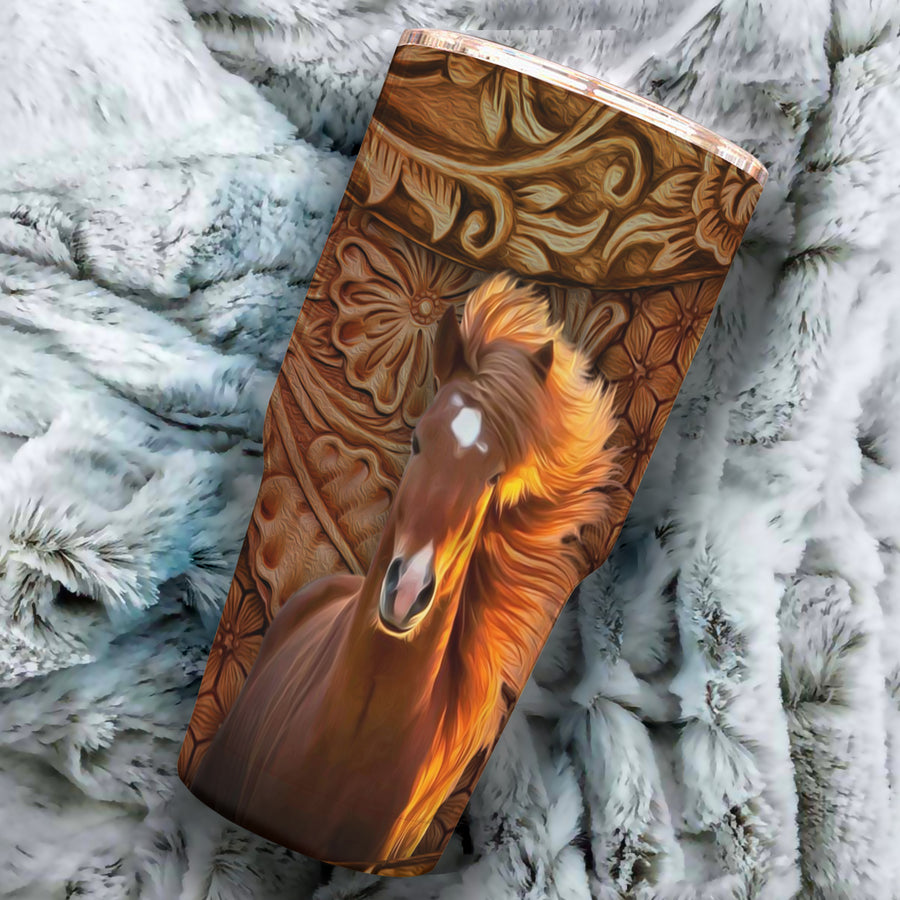 Horse Art Leather 30oz TUMBLER