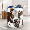 Cute Brown Heifer Face Laundry Basket