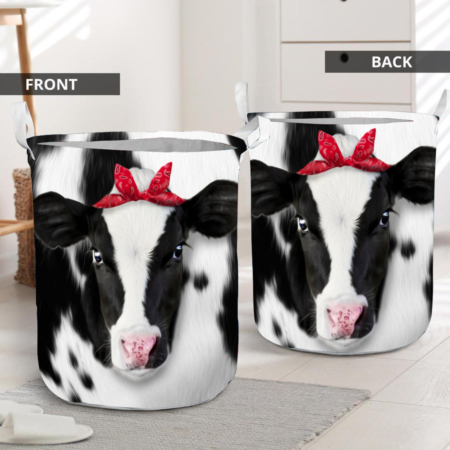 Cute Heifer Face Laundry Basket