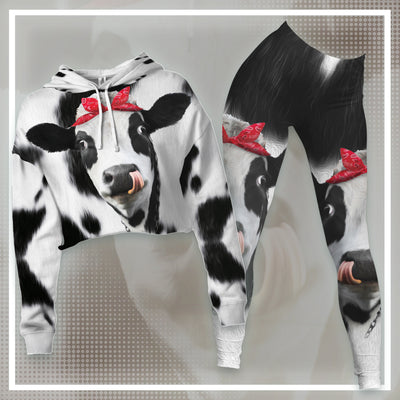 Red Bow Dairy Cows Cropped Hoodie And Leggings Set
