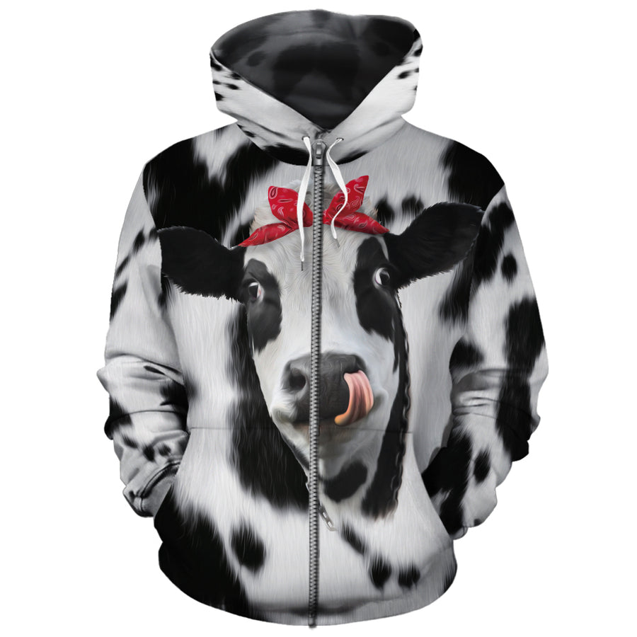 Red Bow Dairy Cow All-over Hoodie
