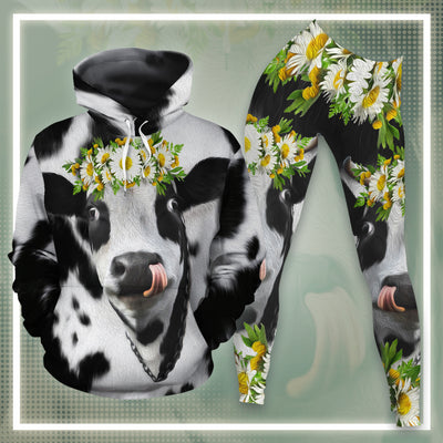Daisy Dairy Cows All-over Hoodie And Leggings Set