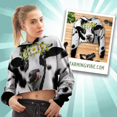 Daisy Dairy Cow Cropped Hoodie