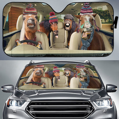 Funny Horses Winter Right Hand Drive Version Auto Sun Shade