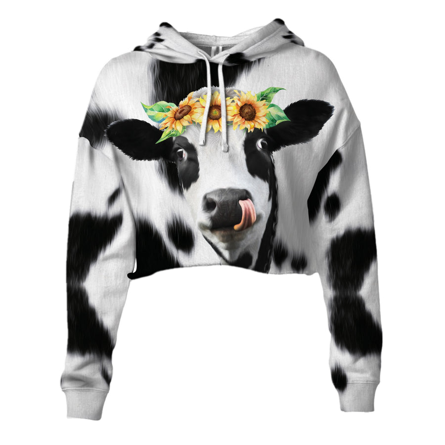 Sunflowers Dairy Cows Cropped Hoodie And Leggings Set