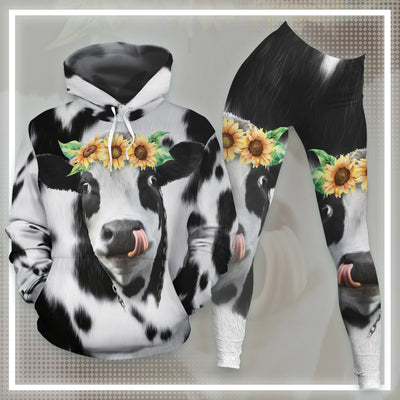 Sunflowers Dairy Cows All-over Hoodie And Leggings Set