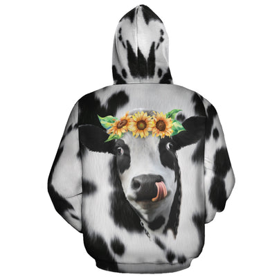 Sunflowers Dairy Cow All-over Hoodie