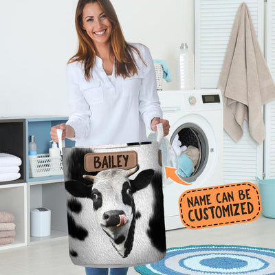 Personalized Cute Cow Face (with tail) Laundry Basket