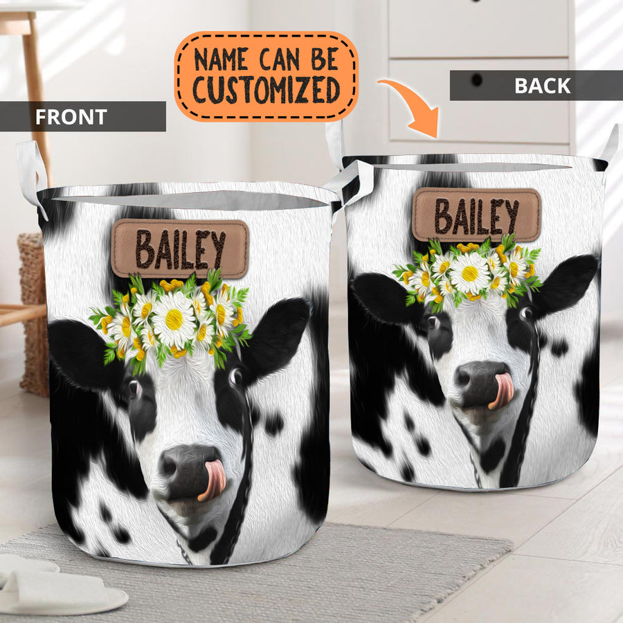 Personalized Daisy Dairy Cow Laundry Basket