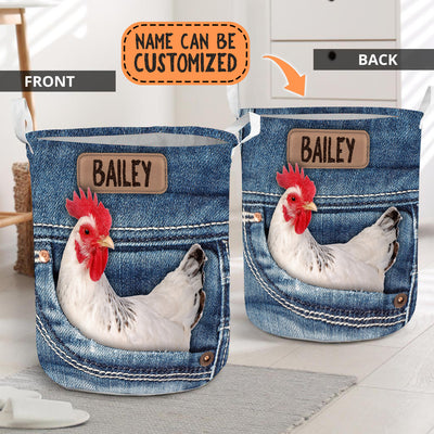 Personalized Chicken Jeans Pattern Laundry Basket