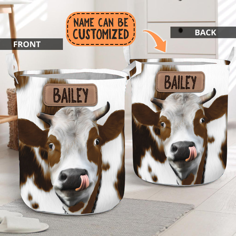 Personalized Cute Brown Heifer Face Laundry Basket