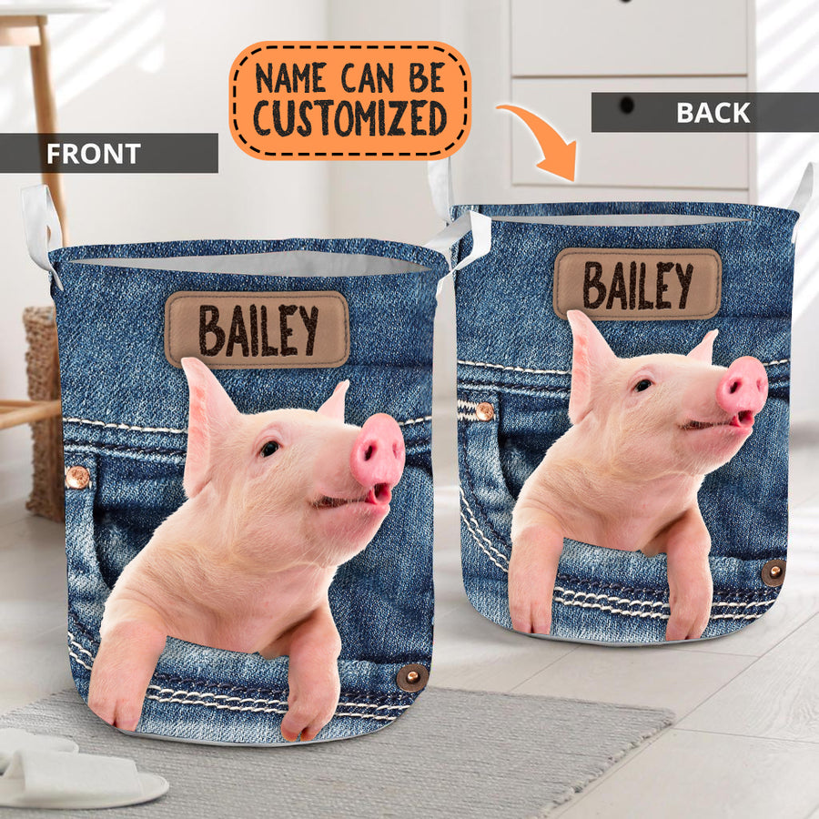 Personalized Pig Jeans Laundry Basket