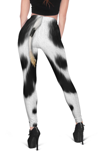 Cute Dairy Cow With Tail Cropped Hoodie And Leggings Set