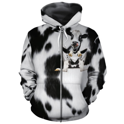Dairy Cow In Pocket All-over Hoodie