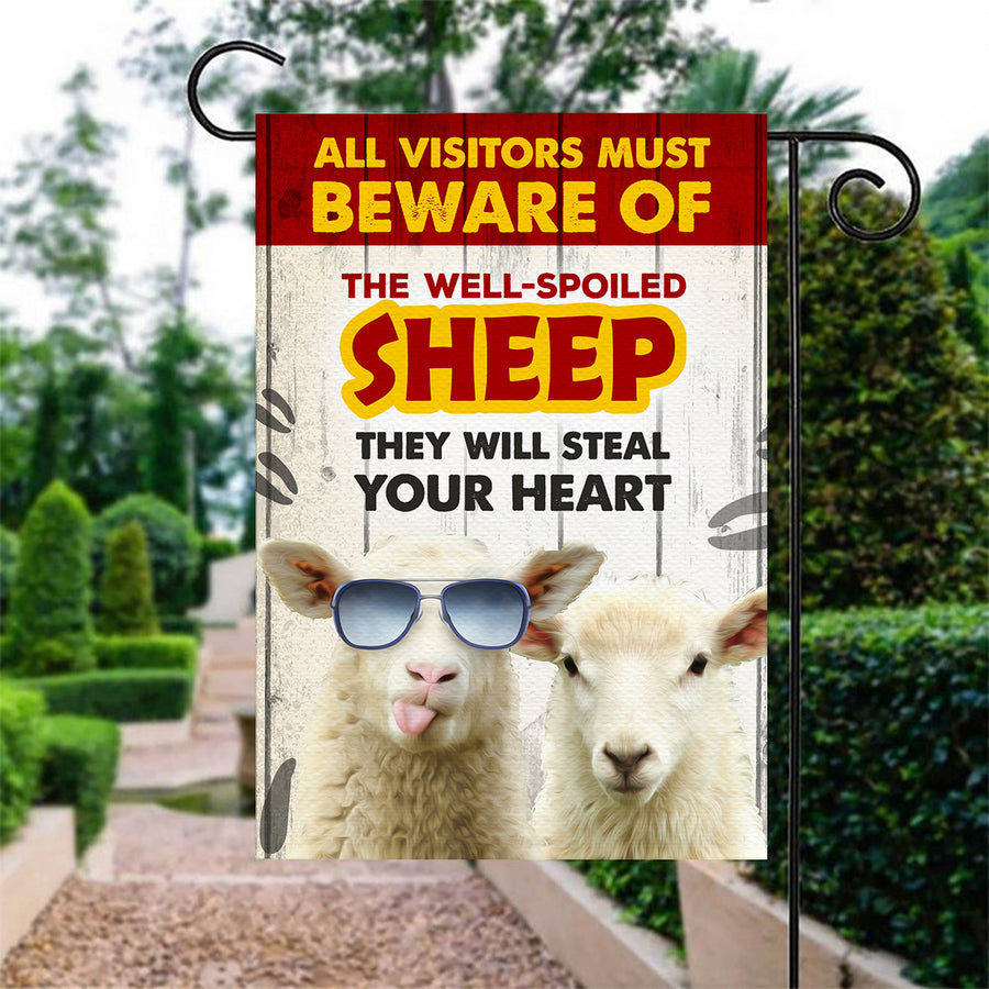 All Visitors Must Beware Of The Well-Spoiled Sheep Garden Flag
