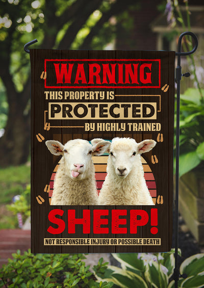 This Property is Protected By Highly Trained Sheep Garden Flag