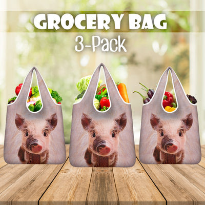 Cute Pig Grocery Bag 3-Pack