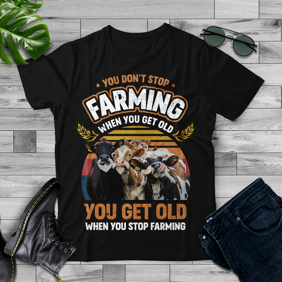 You Get Old When You Stop Farming Retro Style - Dairy Cow