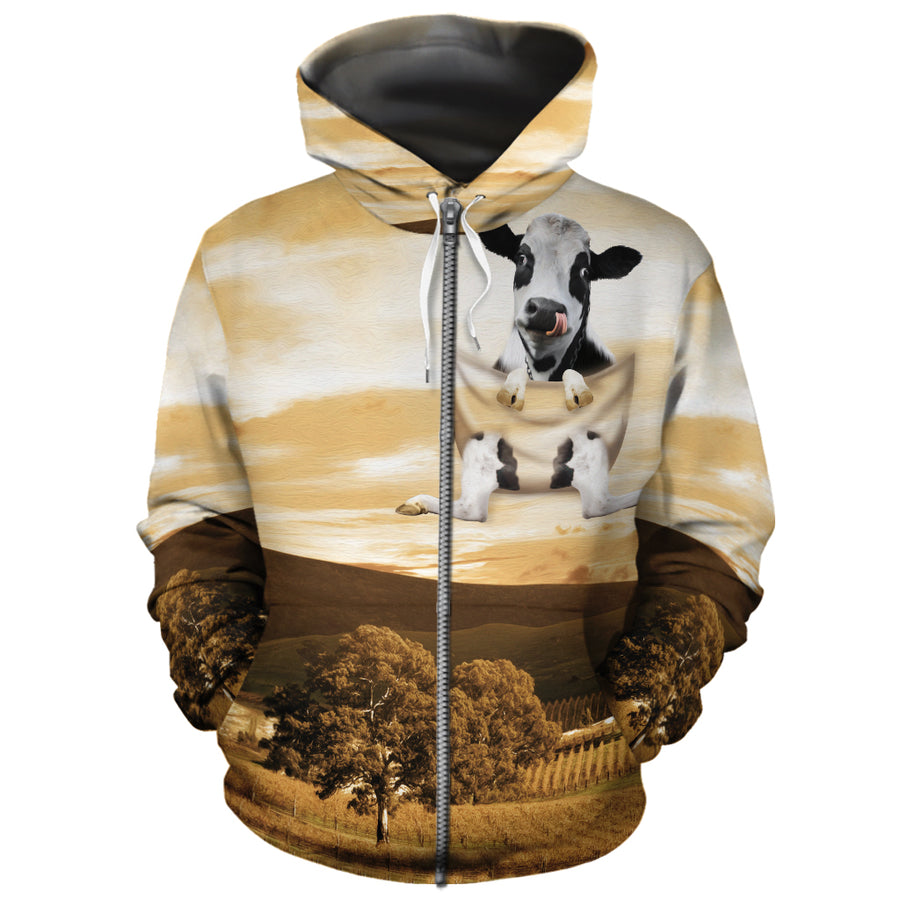 Farming Dairy Cow In Pocket All-over Hoodie