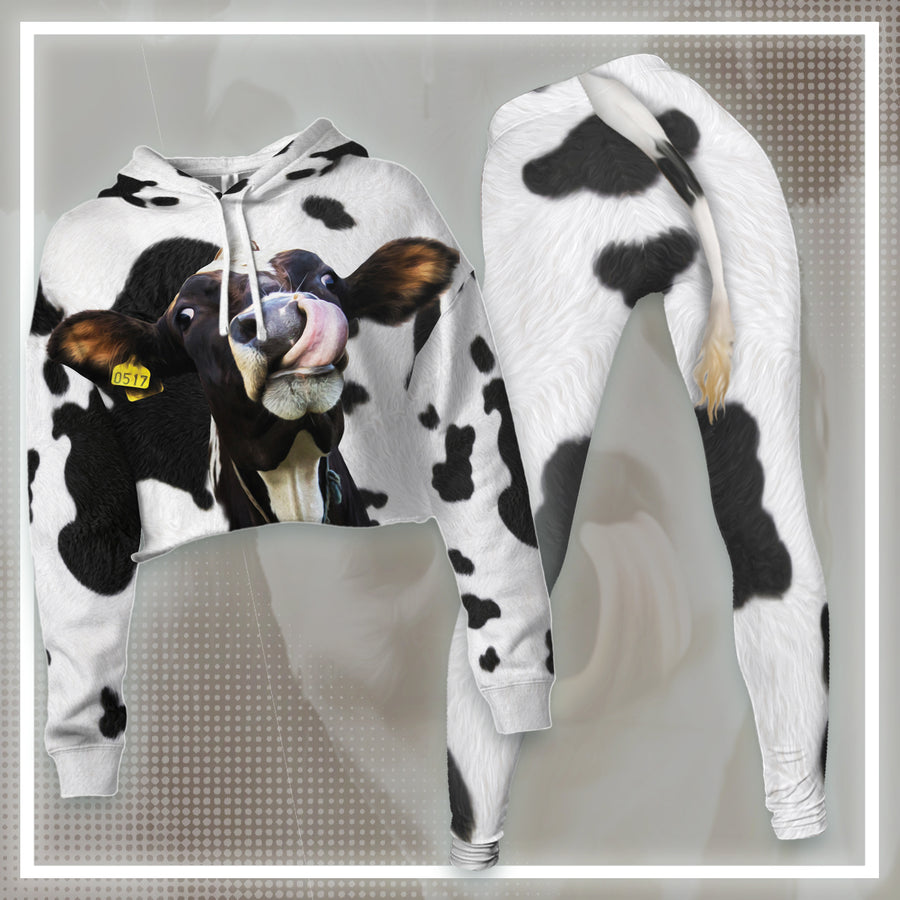 Funny Dairy Cow With Tail  Cropped Hoodie And Leggings Set