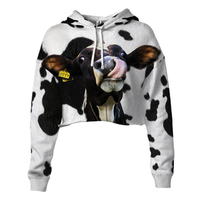 Funny Dairy Cow With Tail Cropped Hoodie