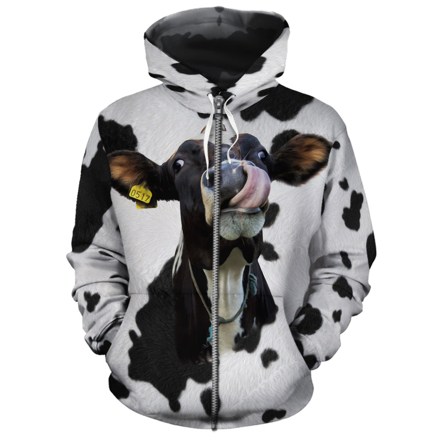 Funny Dairy Cow With Tail All-over Hoodie