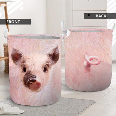 Cute Pig Face With Tail Laundry Basket