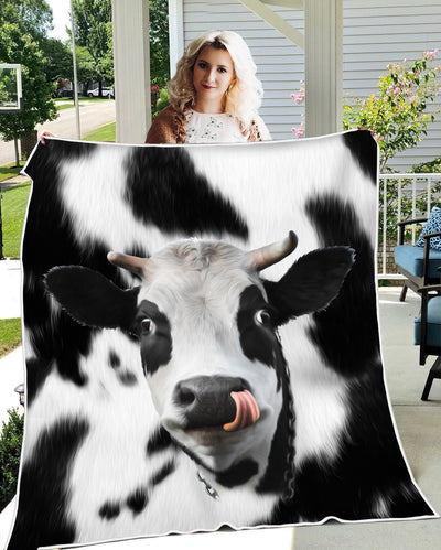 Cute Face Dairy Cow - Cozy Plush Fleece Blanket - 50x60