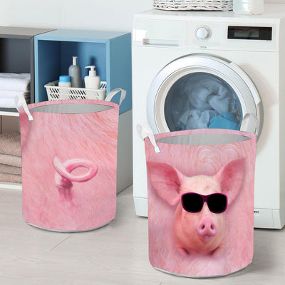 Cool Pig Face With Tail Laundry Basket