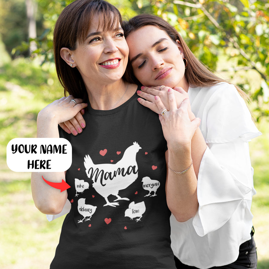 Personalized Chicken Mama - 4 chicks 2D T Shirt GM