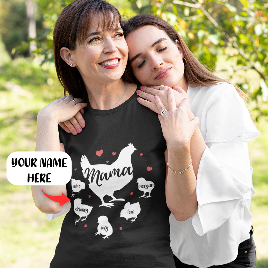 Personalized Chicken Mama - 5 chicks 2D T Shirt GM