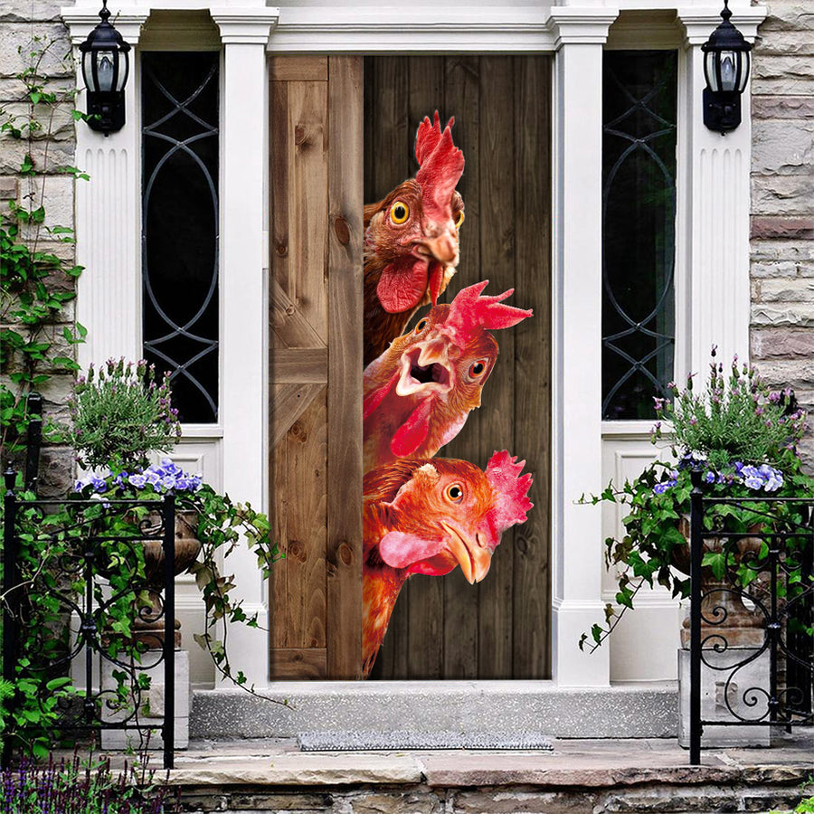 Cute Chickens Door Cover