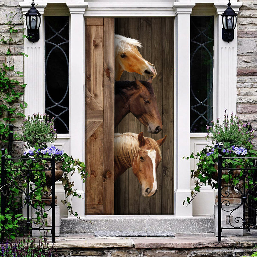 Cute Horses Door Cover