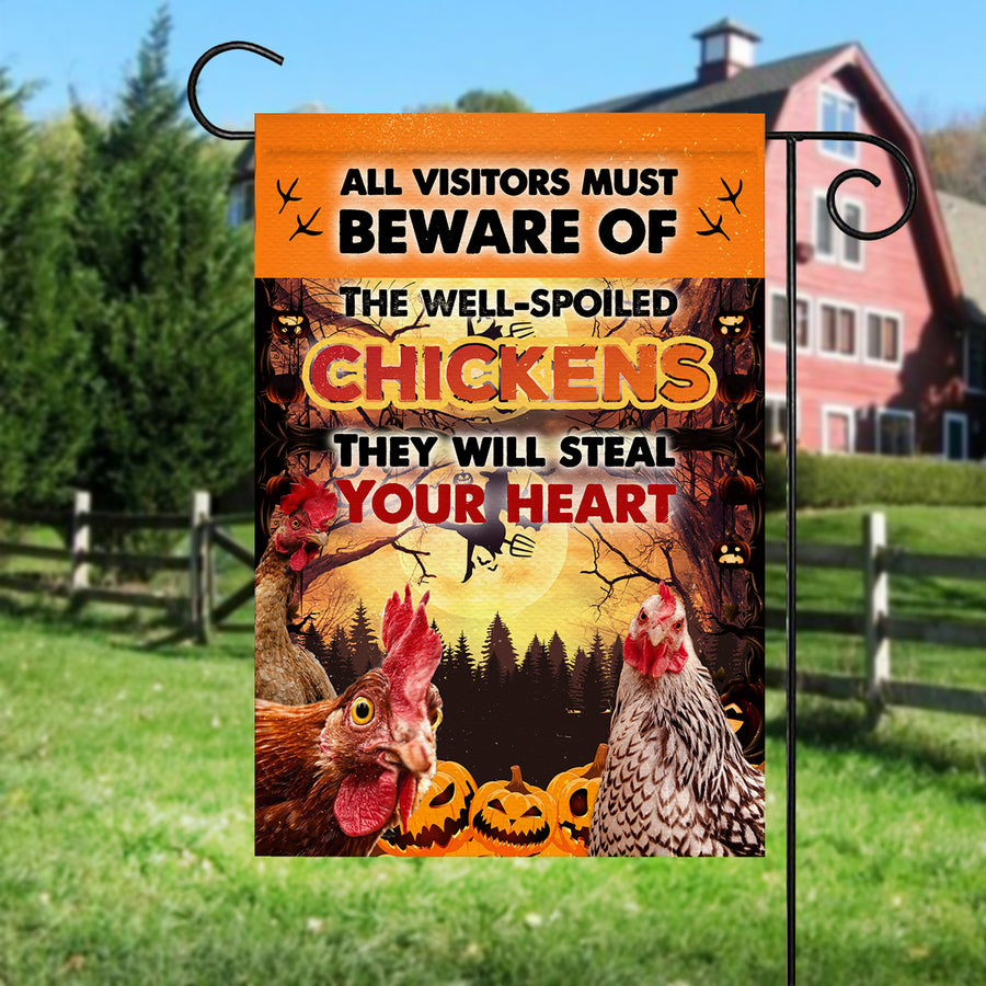 The Well-Spoiled Chickens Will Steal Your Heart Halloween Garden Flag