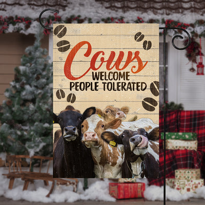 Dairy Cows Welcome People Tolerated Garden Flag