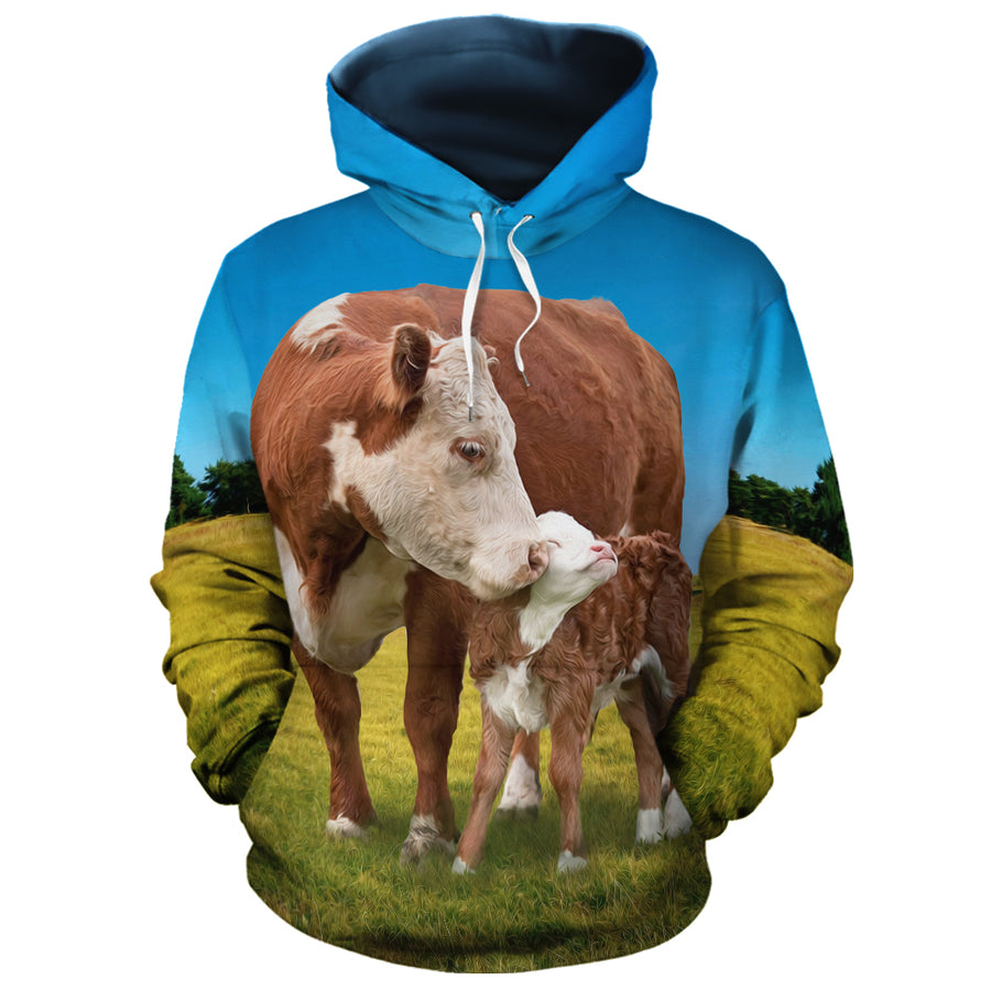 Mommy Cow Loves Her Baby All-over Hoodie