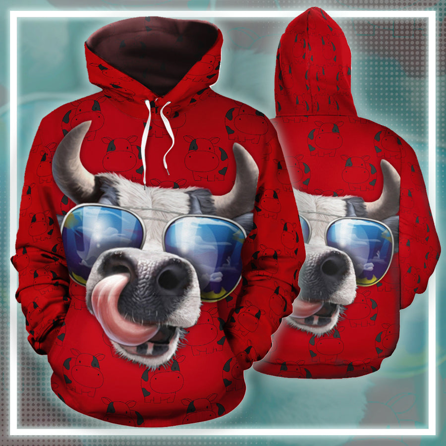 The Cow Fashionista All-over Hoodie