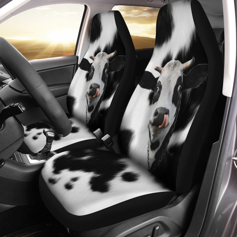 Cute Face Dairy Cow Car Seat Covers