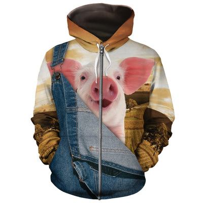 Farming Pig Jean Pattern All-over Hoodie