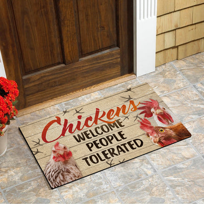 Chickens Welcome People Tolerated Doormat