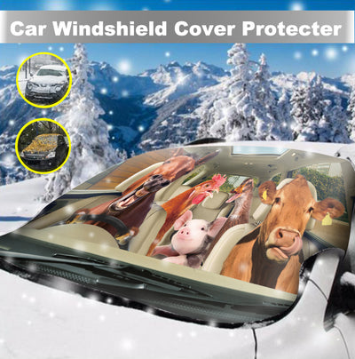 Driving Animals Right-Hand Drive Version Windshield Snow And Sun Cover