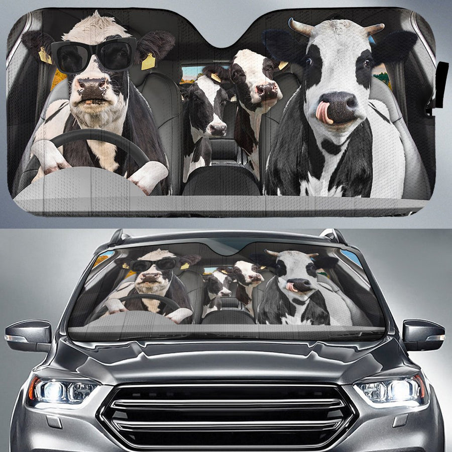 Dairy Cows Auto Sun Shade & Car Seat Covers Set 3