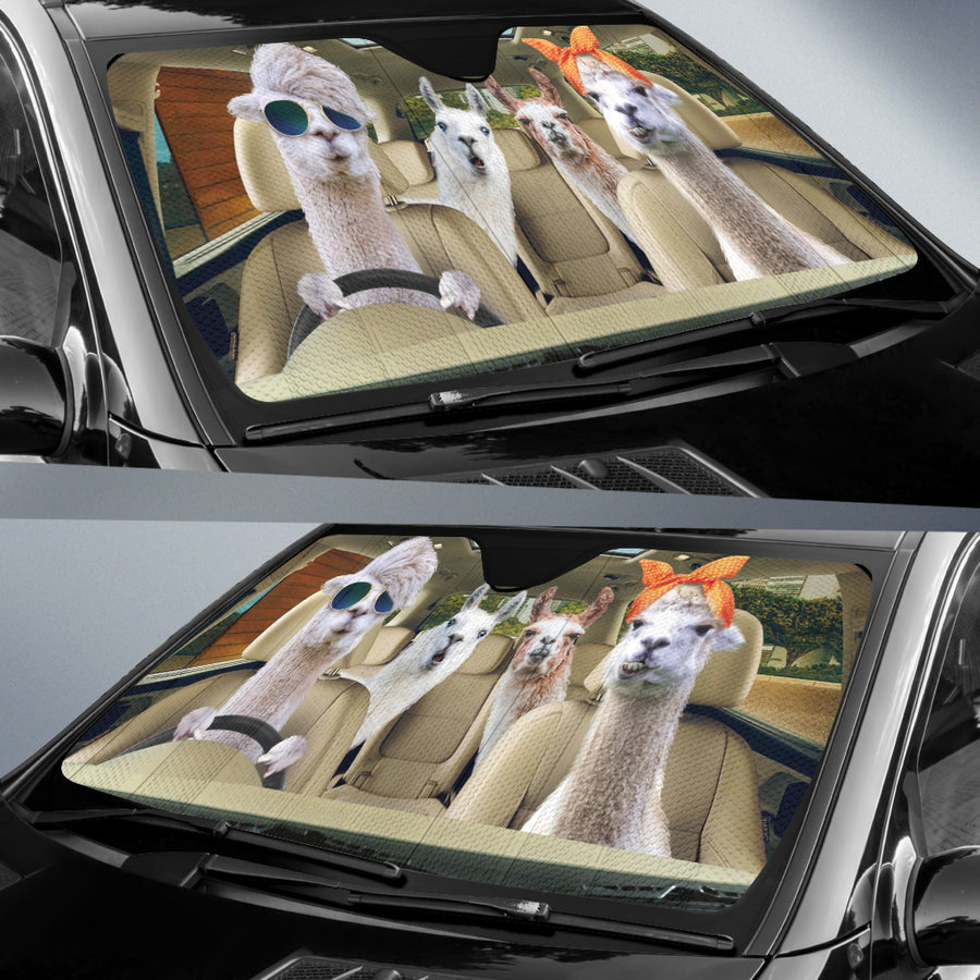 Driving Llamas Right Hand Drive Version Auto Sun Shade