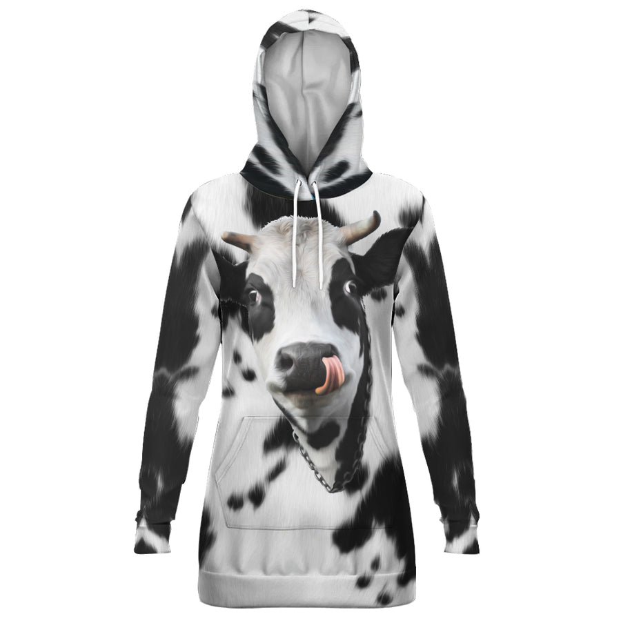 Cute Face Dairy Cow Hoodie Dress