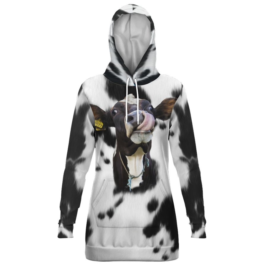 Funny Face Dairy Cow Hoodie Dress