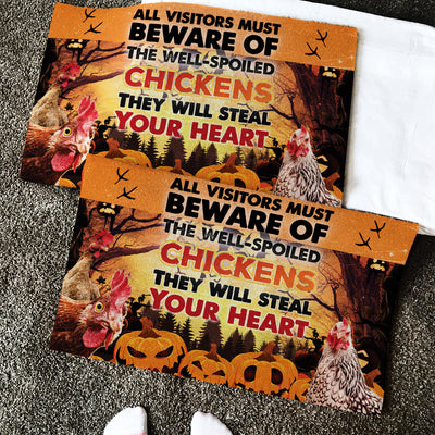 The Well-Spoiled Chickens Will Steal Your Heart Halloween Doormat